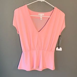 NWT Leith Cap Sleeve V-Neck Peplum Top Light Pink